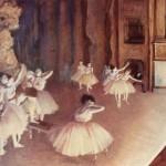 El ensayo de ballet en el escenario de Degas