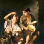 Dos niños comiendo melón y uvas. Murillo. 1645-1648