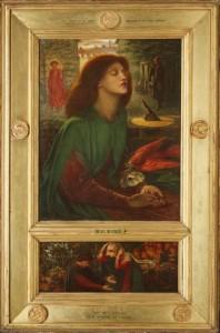 En esta versión Rossetti añadió una predela inferior en la que aparecen Dante y Beatriz. Él mismo realizó también el diseño del marco