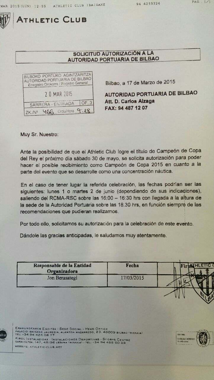 Fax original de la solicitud del Athletic para sacar la Gabarra