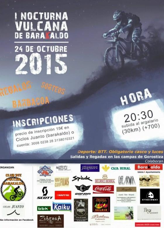 Cartel I Marcha Nocturna BTT Vulcana de Barakaldo