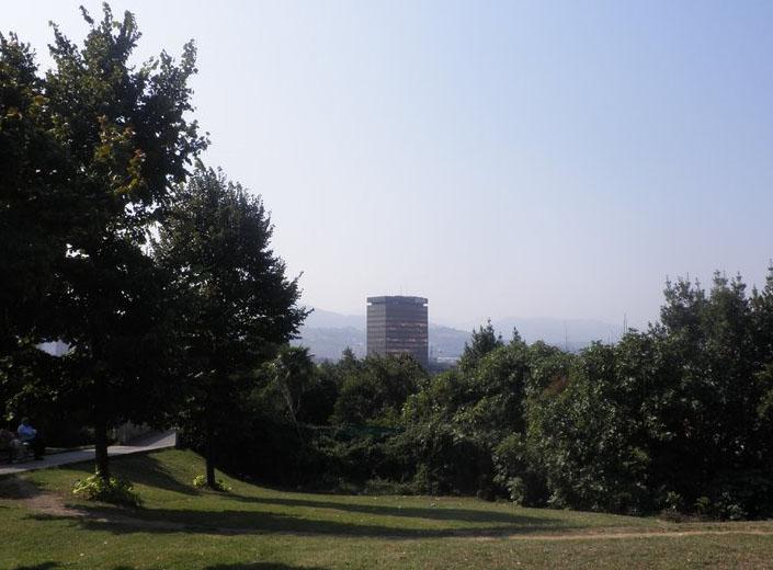 Amaya estuvo en el Parque de Etxebarria, desde donde se domina casi toda la ciudad.