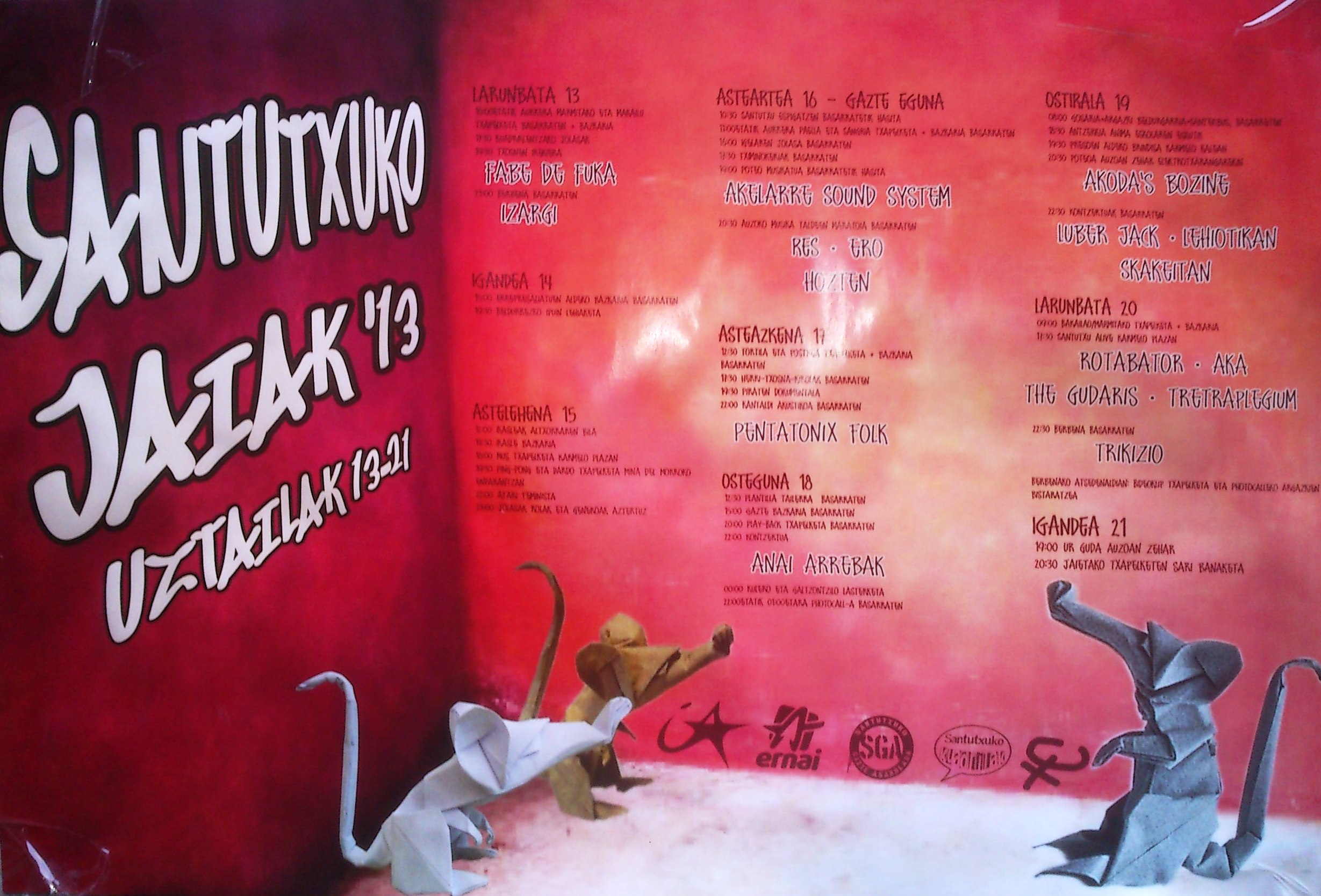 Santutxuko jaiak 2013, programa completo