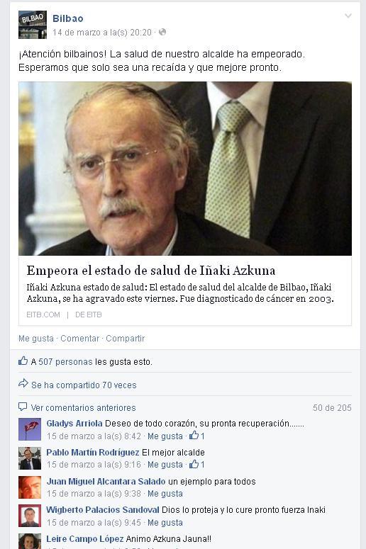 En la imagen, la publicación de la página de Bilbao en Facebook que recogía la noticia.