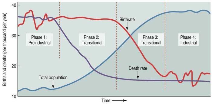 Secuencia de eventos de la transición demográfica. En morado la tasa de mortalidad y en rojo la de natalidad.