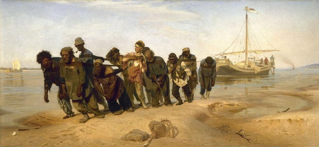 """""""Burlaki na Volge"""" (1870-1873) del pintor ruso Ilyia Repin (1844-1930)"""