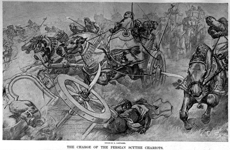 La carga de los carros escitas persas en la batalla de Gaugamela, por André Castaigne (1898-1899)