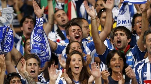 La afición de la Real Sociedad de celebración. Foto: eitbcom