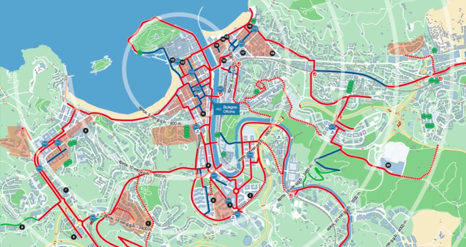 Nuevo mapa de bidegorris. Foto: Ayuntamiento de Donostia