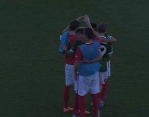 Alegría de los jugadores del Athletic al final del partido