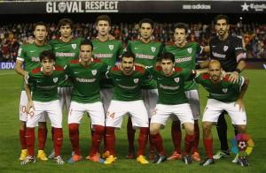 Alineaciíón del Athletic en Mestalla. (Foto: Lfp)