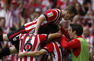 Celebración tras el gol de Aduriz al Sevilla. Foto: Athletic