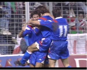 Celebración de Ziganda tras el gol de la victoria al Newcastle
