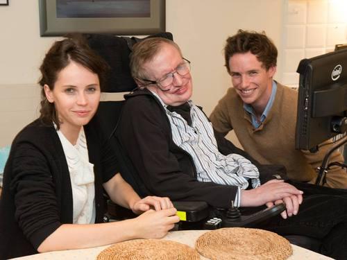 Felicity Jones, Stephen Hawking & Eddie Redmayne