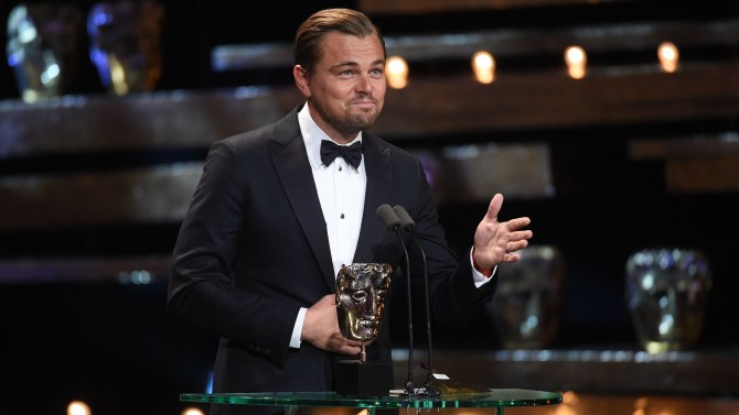 Mandatory Credit: Photo by Jonathan Hordle/REX/Shutterstock (5586123cs) Leonardo DiCaprio EE BAFTA British Academy Film Awards, Show, Royal Opera House, London, Britain - 14 Feb 2016