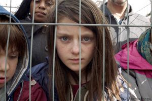 A scene from Save the Children's Still the Most Shocking Second a Day film, which imagines a young British girl fleeing war in the UK and embarking on a dangerous journey.
