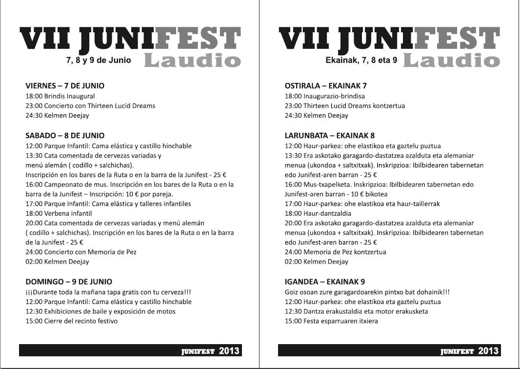 Programa del VII Junifest de Laudio