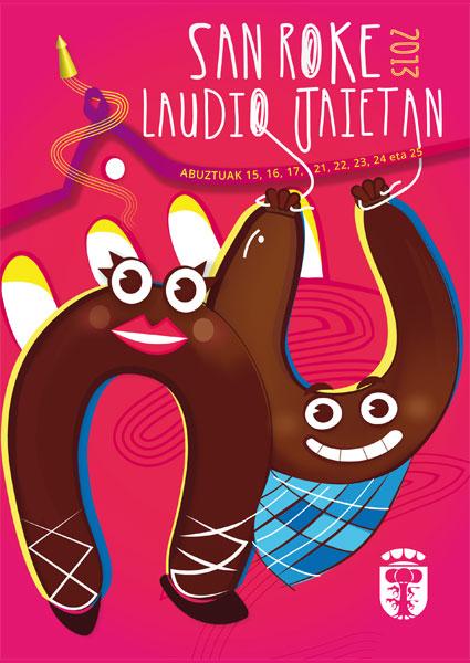 Cartel de las fiestas de San Roque 2013 en Laudio.