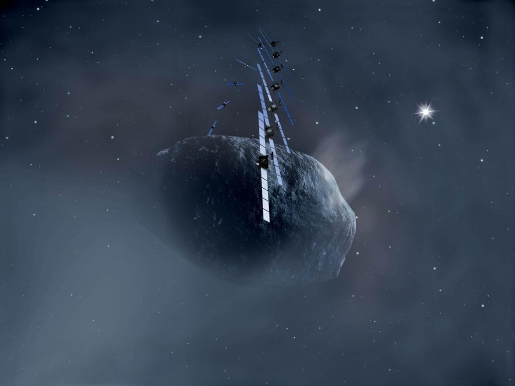 Rosetta eta kometa 67P Churyumov-Gerasimenko Irudia: ESA