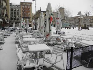 Otra imagen invernal, en este caso de Bego Lujua, de nuestra Plaza del Castillo. (Foto del 2013)