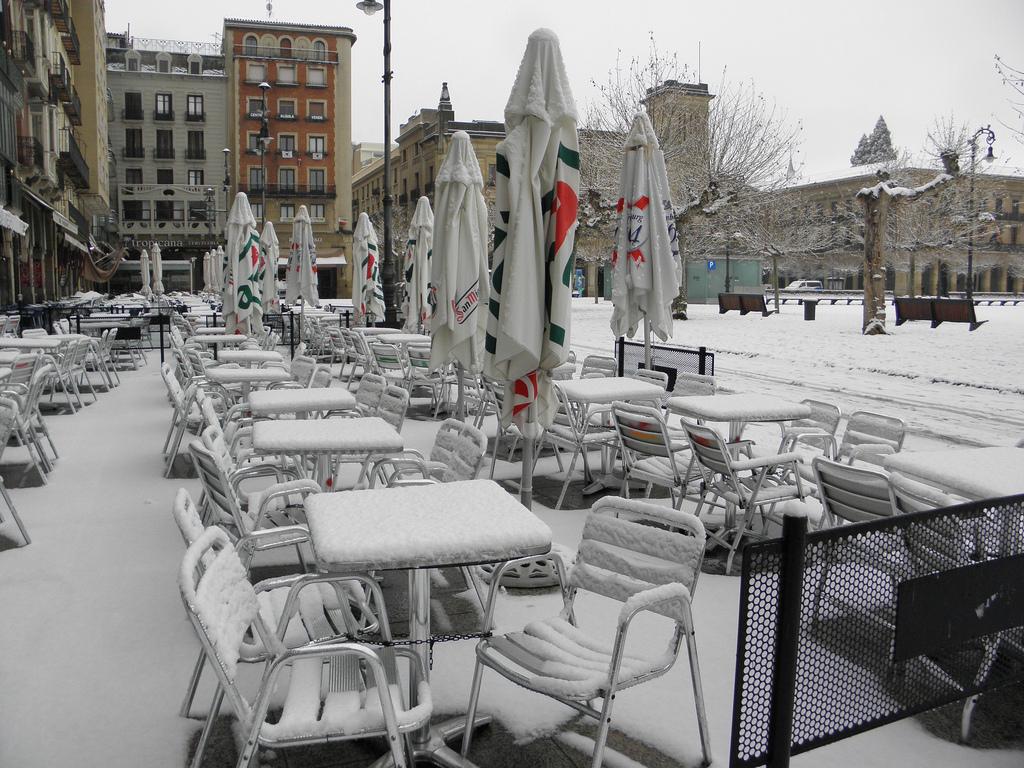 Otra imagen invernal, en este caso de Bego Lujua, de nuestra Plaza del Castillo.