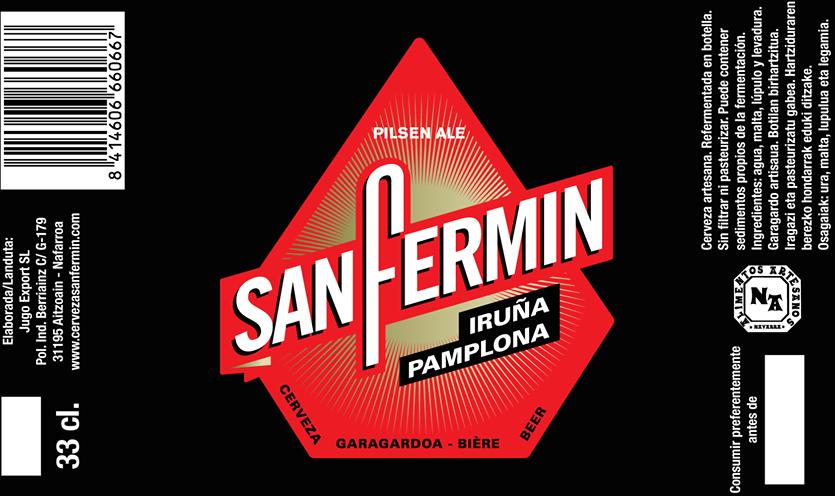 Etiqueta Cerveza San Fermín. Foto: www.facebook.com/sanfermin.cervezagaragardoa