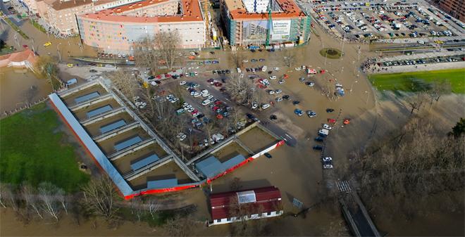 Inundaciones en Pamplona. Foto: policiamunicipal.pamplona.es
