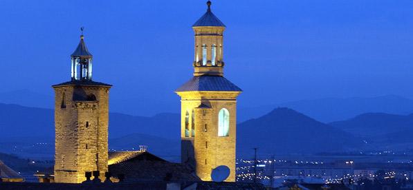 Iglesia de San Cernin al anochecer. Foto: Ayuntamiento de Pamplona