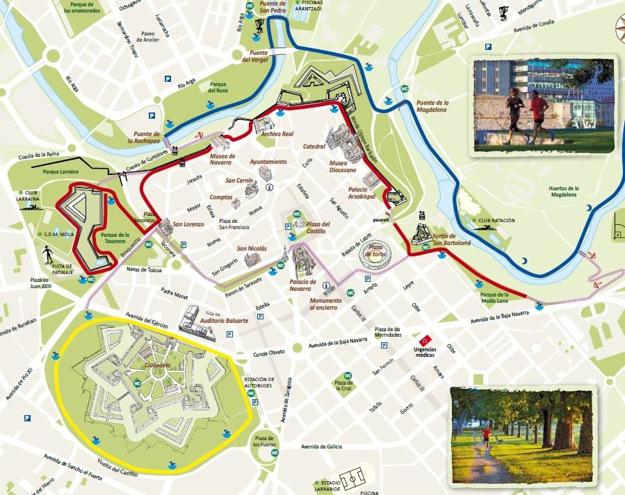 Mapa de rutas de running en Pamplona. Foto: turismodepamplona.es
