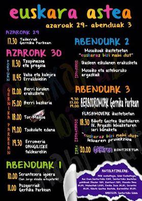 Este es el programa de actividades. La imagen la dejó en Facebook el Euskaltegi Municipal.