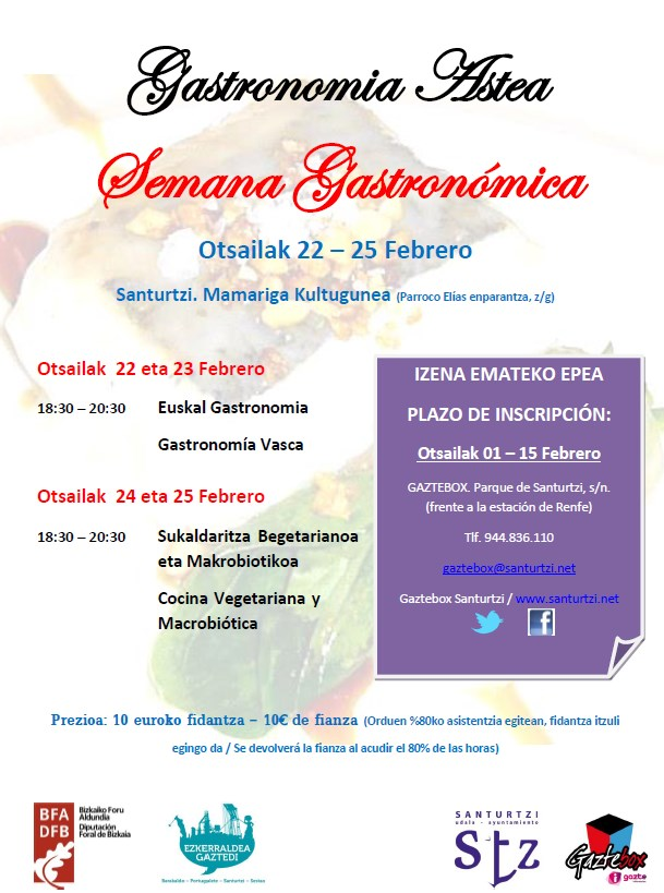 Cartel Semana Gastronómica Santurtzi 2016