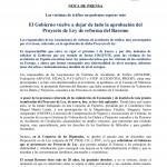 Nota de prensa del Proyecto de Ley de reforma del Baremo