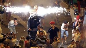 Toro de fuego en la Semana Grande de San Sebastián