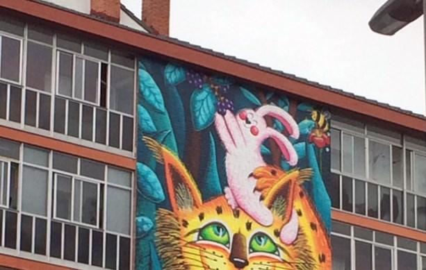 Mural 'Lince de Zaramaga' de Vitoria-Gasteiz. FOTO: muralismopublico.com