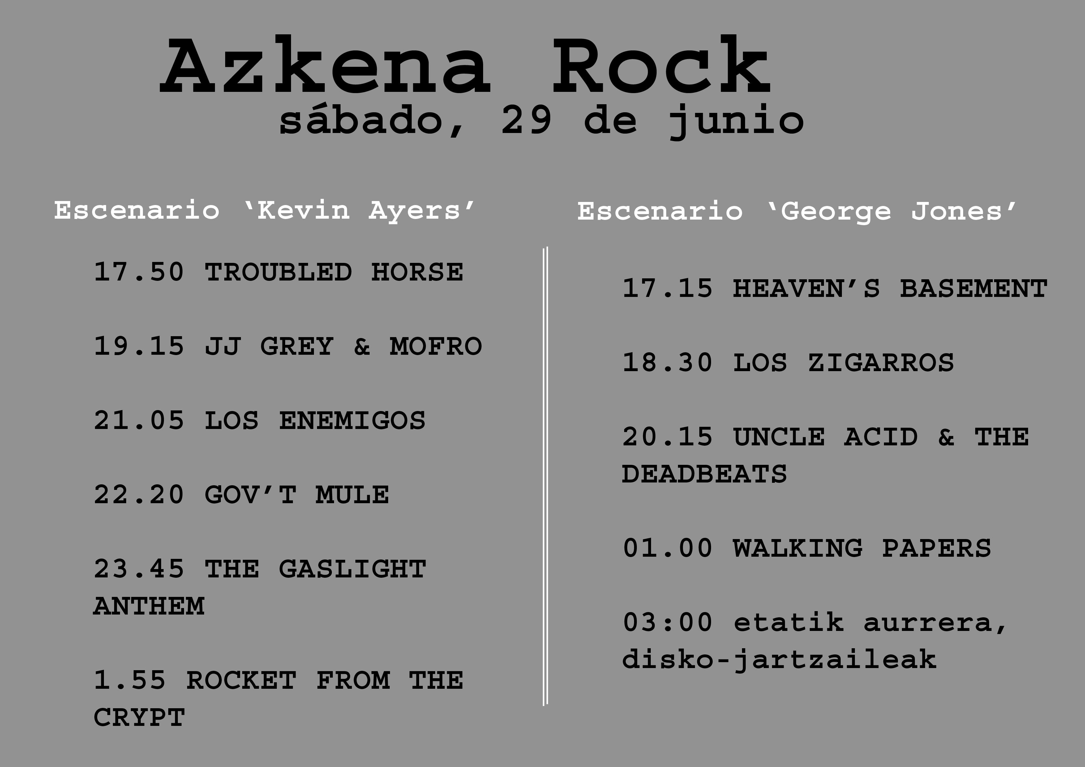 Azkena Rock, sábado 29 de junio