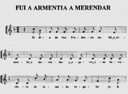 """Letra de la canción """"Fui a Armentia a merendar"""". Foto: cancionesvitorianas.wordpress.com"""