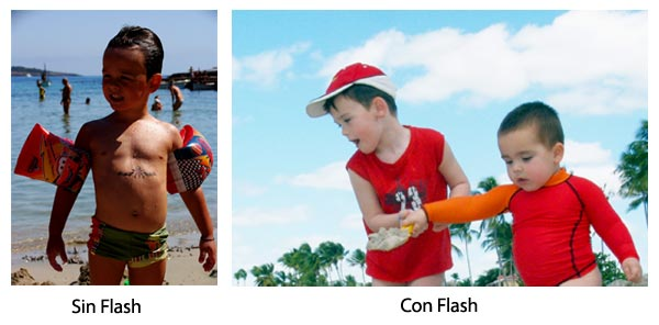 Foto con flash y sin flash